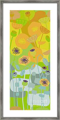 Mod Yellow Poppies Framed Print by CR Leyland
