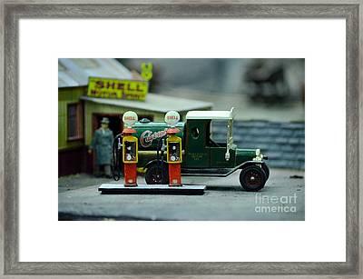 Model Castrol Oil Tanker Truck At Shell Petrol Gas Station  Framed Print by Imran Ahmed