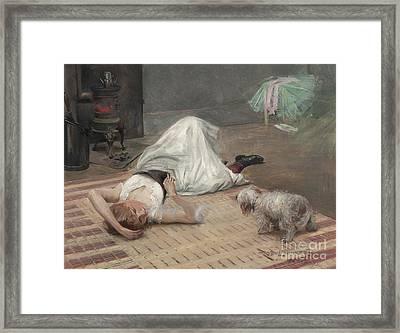Model Having A Cigarette  Framed Print by Robert Lundberg