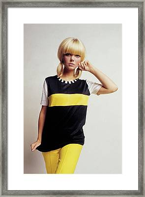 Model In Black And Yellow Framed Print by David McCabe