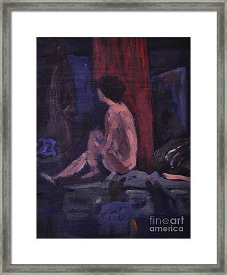 Model In Blue And Red Framed Print by Reb Frost