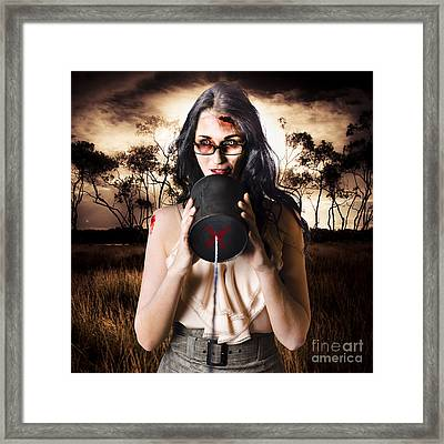 Model In Devil Makeup Announcing Halloween Message Framed Print by Jorgo Photography - Wall Art Gallery