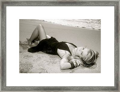 Model On Beach Framed Print by Kicka Witte - Printscapes
