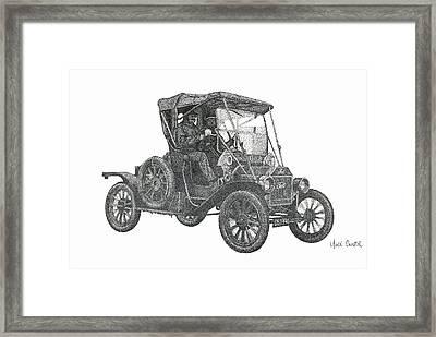 Model T Ford Pointillism Drawing Framed Print
