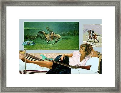 modeling, Frederick Remington, Stampede by Lightning, Advanced Guard Framed Print by Thomas Pollart