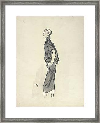 Model Wearing Givenchy Framed Print by Carl Oscar August Erickson