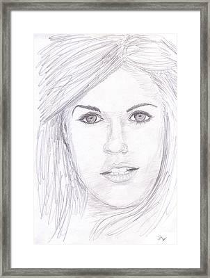 Model With Blond Hair Framed Print