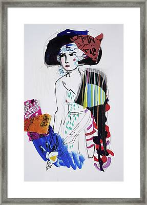 Model With Fashion Hat And Chawl Framed Print