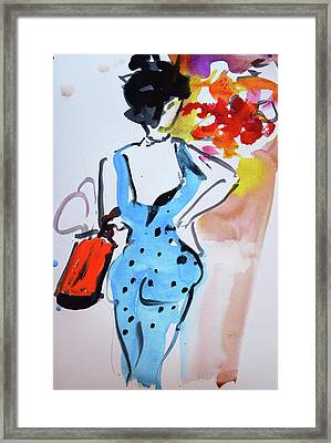 Model With Flowers And Red Handbag Framed Print by Amara Dacer