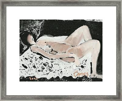 Modelo Recostada White Framed Print by Carlos Camus