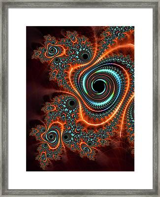 Framed Print featuring the digital art Modern Abstract Fractal Art Orange Cyan by Matthias Hauser