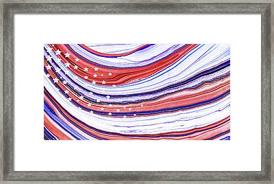 Modern American Flag - Red White And Blue - Sharon Cummings Framed Print by Sharon Cummings