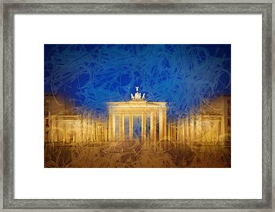 Modern Art Berlin Brandenburg Gate Framed Print by Melanie Viola
