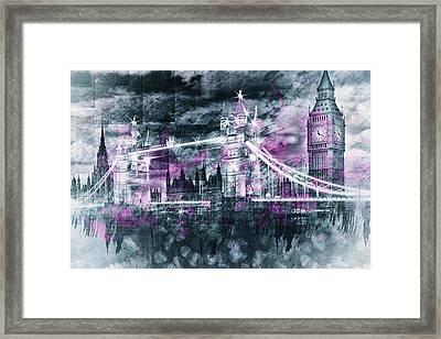 Modern-art London Tower Bridge And Big Ben Composing  Framed Print by Melanie Viola