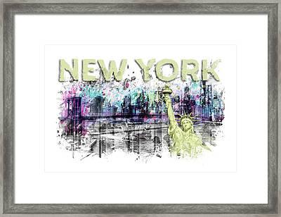 Modern Art New York City Skyline Splashes - Yellow Framed Print