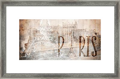 Modern Art Paris Collage Framed Print by Melanie Viola