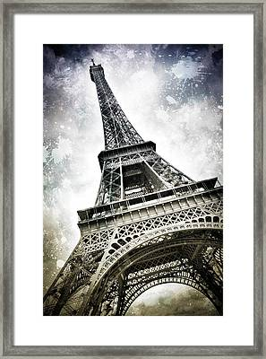 Modern-art Paris Eiffel Tower Splashes Framed Print by Melanie Viola