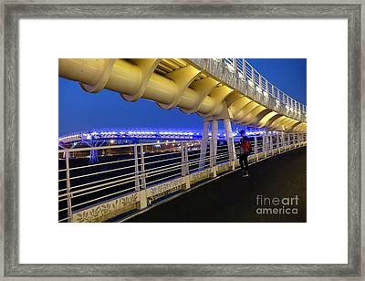 Framed Print featuring the photograph Modern Bicycle Overpass By Night by Yali Shi
