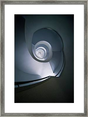 Framed Print featuring the photograph Modern Blue Spiral Staircase by Jaroslaw Blaminsky