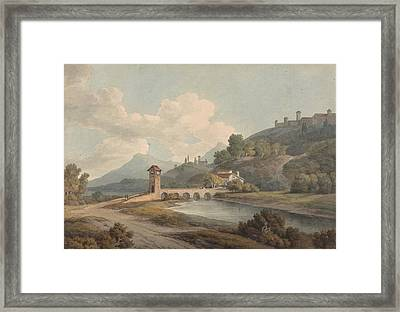 Modern Bridge At Narni Framed Print by Francis Towne