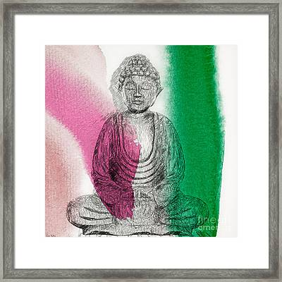 Framed Print featuring the painting Modern Buddha by Lita Kelley
