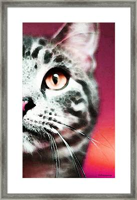 Modern Cat Art - Zebra Framed Print by Sharon Cummings