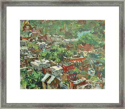 Framed Print featuring the painting Modern Cityscape Painting Featuring Downtown Richmond Virginia by Robert Joyner