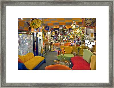 Framed Print featuring the photograph Modern Deco Furniture Store Interior by David Zanzinger