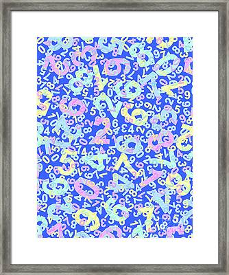 Modern Design With Random Colorful Numbers With Shadow Edges On A Blue Background  Framed Print
