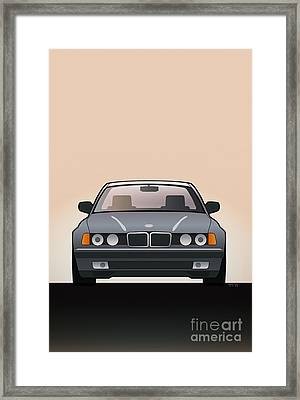 Modern Euro Icons Series Bmw E32 740i  Framed Print by Monkey Crisis On Mars
