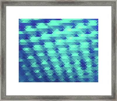 Modern Fashion Abstract Color Pattern In Blue   Green Framed Print
