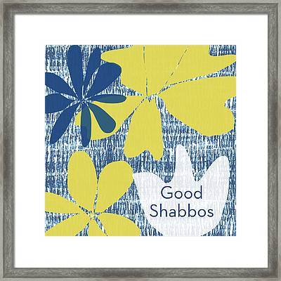 Modern Floral Good Shabbos- Art By Linda Woods Framed Print by Linda Woods