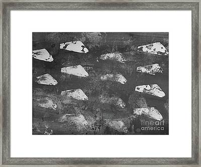 Framed Print featuring the painting Modern Fossil Grayscale by Robin Maria Pedrero
