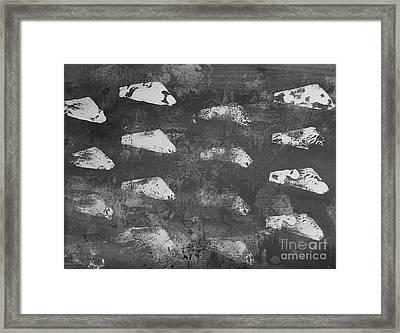 Modern Fossil Grayscale Framed Print