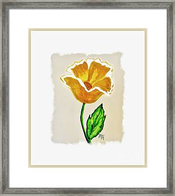 Framed Print featuring the painting Modern Gold Flower by Marsha Heiken