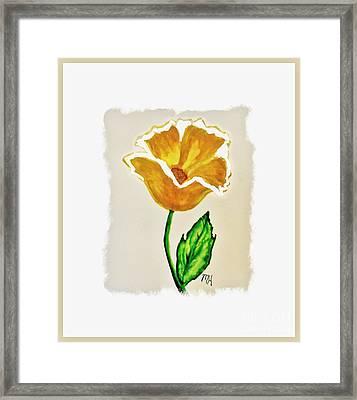Modern Gold Flower Framed Print by Marsha Heiken