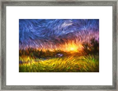 Modern Landscape Van Gogh Style Framed Print by Georgiana Romanovna