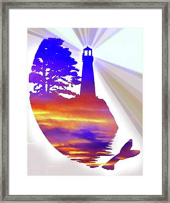 Modern Minimalist Lighthouse With Whale's Tale Rainbow Sunset Colors Abstract With Clouds Framed Print by Stephanie Laird