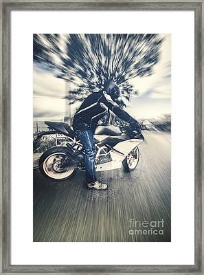 Modern Motorcyclists Framed Print