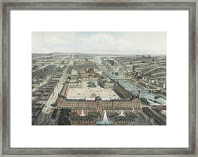 modern Paris. The Tuileries, the Louvre, and the Rue de Rivoli, view from the Garden Tuileries Framed Print