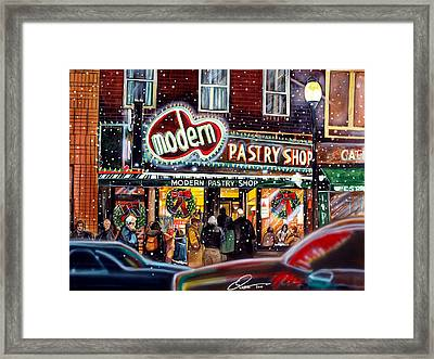 Modern Pastry Of Boston At Christmas Framed Print