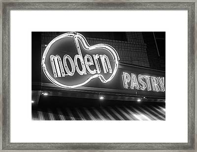 Modern Pastry Shop Boston Ma North End Hanover Street Neon Sign Black And White Framed Print