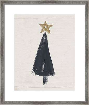 Modern Primitive Black And Gold Tree 3- Art By Linda Woods Framed Print by Linda Woods