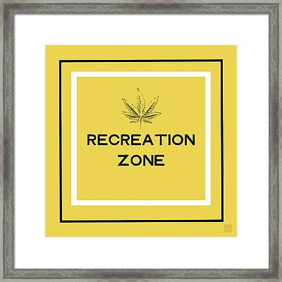 Modern Recreation Zone Sign- Art By Linda Woods Framed Print by Linda Woods