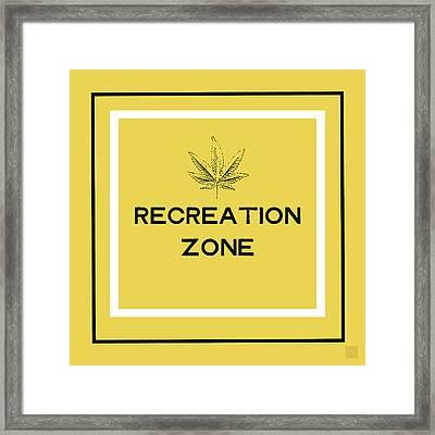 Modern Recreation Zone Sign- Art By Linda Woods Framed Print