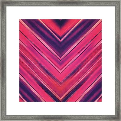 Modern Red Black Stripe Abstract Stream Lines Texture Design Symmetric Edition Framed Print by Philipp Rietz