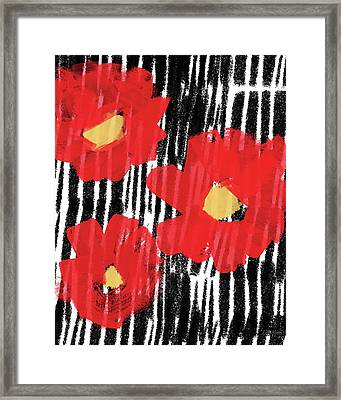 Modern Red Flowers- Art By Linda Woods Framed Print by Linda Woods