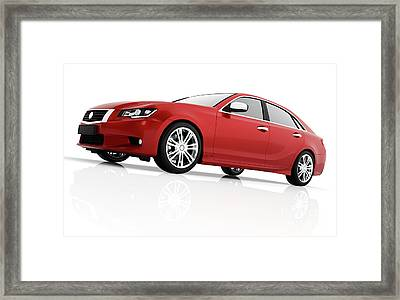 Modern Red Metallic Sedan Car In Spotlight. Generic Desing, Brandless. Framed Print by Michal Bednarek