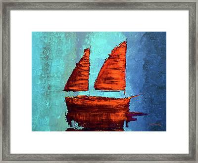Modern Sailboat Painting Framed Print by Ken Figurski