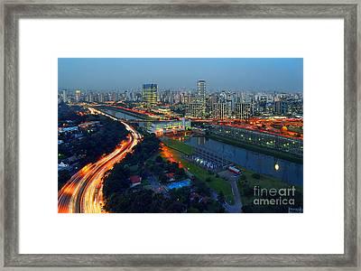 Modern Sao Paulo Skyline - Cidade Jardim And Marginal Pinheiros Framed Print